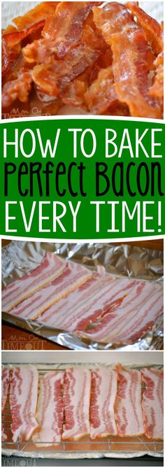 Everybody loves bacon, right? Let me show you how to make PERFECT bacon every time - you'll never make it another way again! How to Bake Bacon for the most perfect bacon you've ever seen! Step by step instructions make this so easy - restaurant quality bacon is just an oven away :) | Mom On Timeout