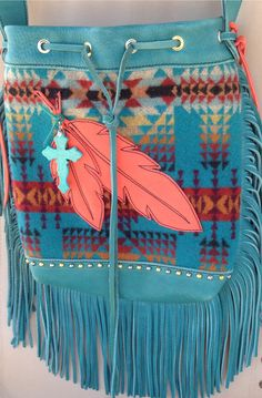 Leather and Pendleton Wool cross body bag. Made by The Turquoise Arrow