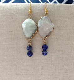 Druzy Stone with Lapis Lazuli Earrings Lapis by MeenuJewellery