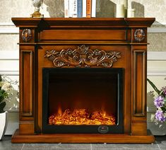 Online Shop deluxe fireplace European style wooden mantel plus electric fireplace insert firebox burner artificial LED optical flame Wooden Mantel, Wooden Fireplace, Fireplace Set, Fireplace Inserts, Decorative Fireplace, Electric House, Electric Fires, European Home Decor, European Style