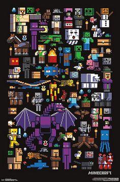 Minecraft Poster Mobbery - Minecraft World Minecraft Mobs, Minecraft Skins, Minecraft World, Capas Minecraft, Minecraft Posters, Minecraft Pictures, Minecraft Fan Art, Minecraft Wallpaper, Minecraft Funny