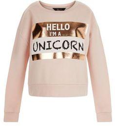 New Look Teens Shell Pink Unicorn Print Foil Sweater SEK) ❤ liked on… Unicorn Fashion, Unicorn Outfit, Unicorn Shirt, Unicorn Clothes, Pink Long Sleeve Tops, Long Sleeve Sweater, Outfits For Teens, Cute Outfits, Outfits Winter