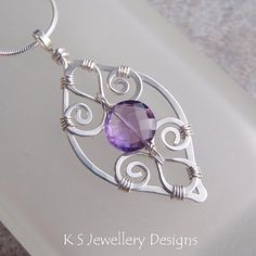 PURPLE LEAF  Amethyst Spiral Loop Leaf Frame Sterling Silver Pendant