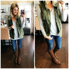 Military Vest + V Neck Sweater + Riding Boot // Winter Wear