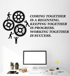 Vinyl Wall Decal Teamwork Quote Office Motivation Gears Stickers Murals (ig4716)