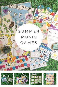 Printable summer music games to play in music lessons or piano lessons. Covers a variety of musical knowledge, from note reading to rhythms.