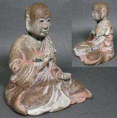 Rare Japanese Antique Wooden Buddha Statue really lifelike -280 Edo Meiji