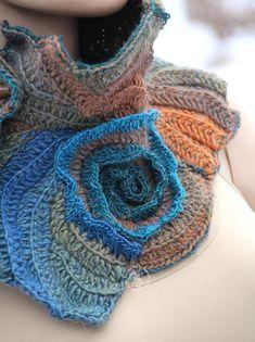 Unique crochet scarf Boho neck warmer Textured scarf Freeform