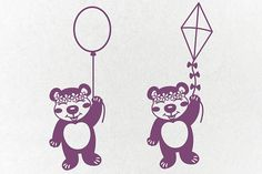 bear with flowers svg, bear face svg, balloon svg, kite, bear papercut, template, papercutting, vinyl, stencil, cricut, silhouette, cameo