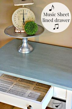 Table Drawer with a Hymnal Page Liner #chalkyfinish www.homeroad.net