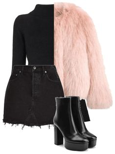 Discover outfit ideas for made with the shoplook outfit maker. How to wear ideas for black denim skirt and Balmain Cropped Turtleneck Sweater Style Outfits, Teen Fashion Outfits, Mode Outfits, Cute Casual Outfits, Look Fashion, Korean Fashion, Fall Outfits, Summer Outfits, Retro Mode