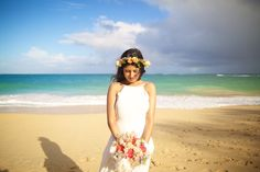 Colorful bridal bouquet and floral crown for this beach bride by Dellables - Anna Kim Photography