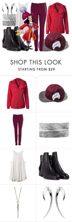 """""""Captain Hook"""" by fabulousgurl ❤ liked on Polyvore featuring Barbour, SunaharA, RVCA, 3.1 Phillip Lim, Love Heals, Shaun Leane, peterpan and disneybound"""
