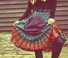 Bohemian Wrap Skirt, Peacock Print Hippie Skirt, Cover-Up, Boho, Gypsy, Moon Sunburst, Christmas gift, Festival Skirt