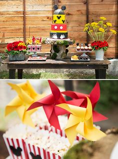 Rustic Red & Yellow Mickey Mouse Birthday Party