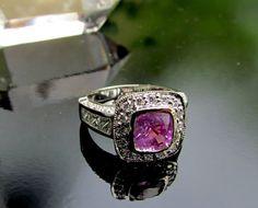 Pink Sapphire Engagement Ring in 14k Gold Diamond Halo September Birthstone Wedding Anniversary