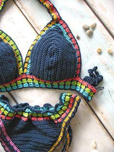 Bikini de ganchillo multicolor Crochet trim bikini Bikini