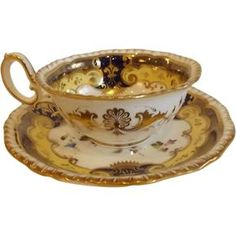 A wonderful circa 1825 or so antique English tea cup and saucer by H. R. Daniel in pattern #4058. This pattern features the second gadroon top edge, #Antiques