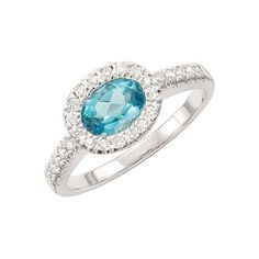 Gabriel & Co. - Blue Topaz & Diamond Ring-Available at Valdosta Vault
