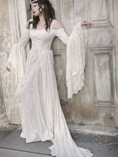 White Lace Medieval Long Sleeves Wedding Dress