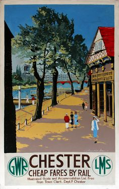 Travel Poster / Chester - Cheap Fares by Rail