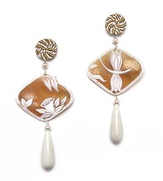 Dragonfly Cameo earrings with passementerie, bone pendants and pearls. www.annaealex.com