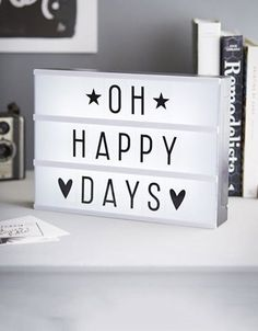 lightbox quotes - oh happy days Cinema Light Box Quotes, Cinema Box, Light Board, Led Light Box, Diy Light, Message Light Box, Deco Cafe, Boxing Quotes, Light Letters