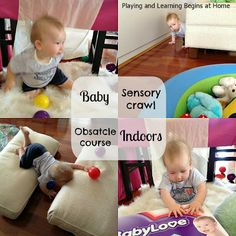 Playing and Learning Begins at Home: Baby sensory crawl obstacle course~ indoors
