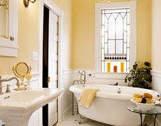 Small yellow country bathroom