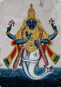 Vishnu in his incarnation as Matsya (in the form of a fish). 19th century
