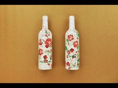 How to make a decoupage bottles with Easy Crackles - Fast & Easy Tutorial - DIY - YouTube
