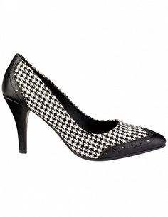Escarpins pied de poule, noir et blanc Houndstooth, Kitten Heels, Shoes, Fashion, Pumps, Black N White, Fashion Styles, Moda, Zapatos