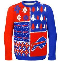 Buffalo Bills Red/Royal Blue Busy Block Ugly Sweater
