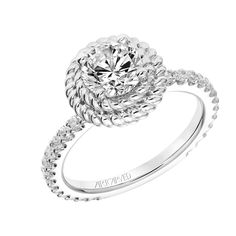 New for our Spring collection! Kaydence: Contemporary Double Rope Halo Engagement Ring with Diamond Shank and Rope Details in Gallery #artcarvedbridal #spring #whitegold #engagementring