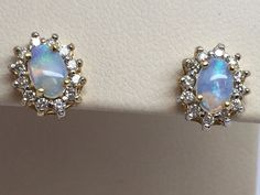 14K YELLOW GOLD OPAL EARRINGS WITH DIAMOND HALO