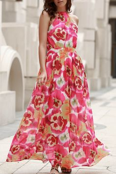 High Neck Full Floral Flowing Dress
