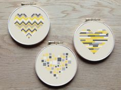3 geometric modern cross stitch heart patterns, hearts, set of 3, grey and yellow, PDF pattern ** instant download**