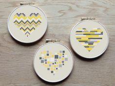 3 geometric modern cross stitch heart patterns hearts set of