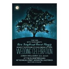 Starry Night Wedding Invitation with Tree and String Lights #eveningwedding #rusticwedding #outdoorwedding