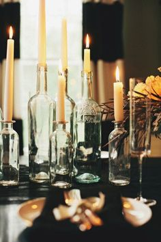 Simple and easy idea for diy bottle candles - perfect for a cozy wedding reception in a small circle of friends and family.