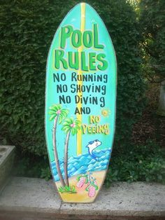 Pool Rules Tropical Surfboard Decorative Art Tiki Hut Bar Pool Plaque Sign | eBay
