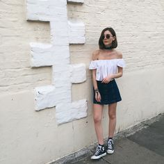 Sneakers are secretly the best shoe of summer—comfortable, practical, and just pretty damn cute. Here are 25 summer outfit ideas so you can wear your sneakers all season long. Summer Shoes, Summer Outfits, Korea Street Style, Neckerchiefs, Denim Skirt, Couture, Sneakers, How To Wear, Dresses
