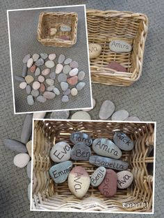 """Name stones for self registration. The children choose their own stone... from Rachel ("""",)"""