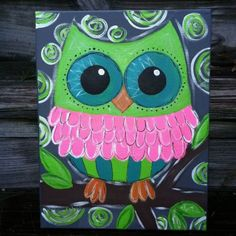 Friese Johnson paint this and start an owl collection (: too cute! Canvas Painting - Owl on Wanelo Owl Canvas, Kids Canvas, Diy Canvas Art, Painting For Kids, Painting & Drawing, Kunst Party, Wal Art, Easy Paintings, Canvas Paintings