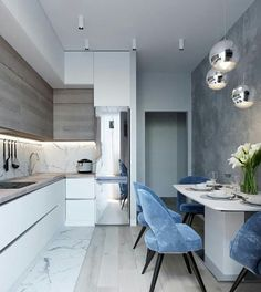 marble blue small kitchen ideas condo russian home interior design style white a. - marble blue small kitchen ideas condo russian home interior design style white and wood cabinets gl - Kitchen Room Design, Condo Kitchen, Kitchen Cabinet Colors, Modern Kitchen Design, Home Decor Kitchen, Interior Design Living Room, Home Kitchens, Kitchen Ideas, Kitchen Soffit