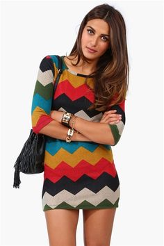 Chevron Sweater Dress- a little short to my liking, but great with pants!