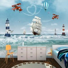 Nursery and Chil Room Wallpaper Hot Air Baloon Plane Lighthouse and Sailboat Wall Mural Child Room Decoration Wallpaper Decor, Kids Wallpaper, Art Wall Kids, Canvas Wall Art, Normal Wallpaper, Map Background, Kids Room, Child Room, Wall Murals