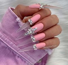 Elegant Nail Designs with Rhinestones Super Long, Matte Pink Stiletto NailsSuper Long, Matte Pink Stiletto Nails Pink Stiletto Nails, Sexy Nails, Dope Nails, Purple Nails, Best Acrylic Nails, Acrylic Nail Designs, Nail Art Designs, Nail Designs Bling, Elegant Nail Designs