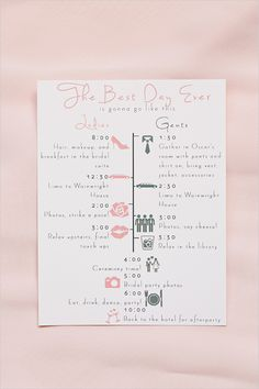 illustrated wedding day timeline for the wedding party