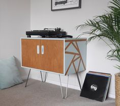G Plan Record Cabinet Storage, Upcycled & Painted with Duck Egg Blue Geometric Triangles and Hair Pin Legs, Mid Century Scandi